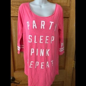 VS Pink Party Sleep Repeat Sleep Shirt Size S